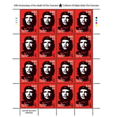Che Guevara Ireland 2017 SOLD OUT RARE WHOLE STAMP SHEET