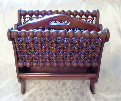 Victorian style Stick & Ball FretWork - Walnut Magazine Rack or Music Holder