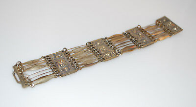 Vintage Sterling Silver Pyramid Panel Bracelet - Taxco - 7.5 Inches