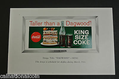 "Coca-Cola Vintage Advertisement Design ""Taller than a Dagwood""-King Size 1960"