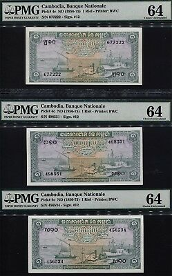 TT PK 4c 1956-75 CAMBODIA BANQUE NATIONALE 1 RIEL PMG 64 SET OF THREE NOTES!