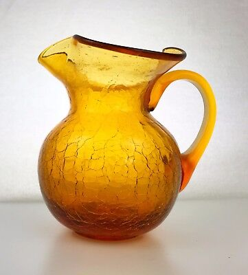Vintage Hand Blown Glass Amber Pitcher w/Handle and Fluted Rim