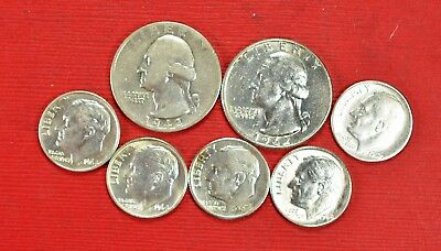 $1.00 Face Value 2 Washington .25 5 Roosevelt Dimes 90% Silver Coins Circulated