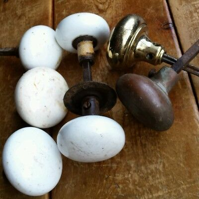 Lot Vintage/Antique White Glass Door Knobs