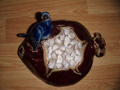 Wall Pocket ~ Hand Made Stoneware Pottery ~ Blue Bird On Pot ~ Indoors Outdoors