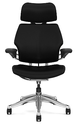 Humanscale Freedom Chair With Headrest,leather,polished Aluminum Frame