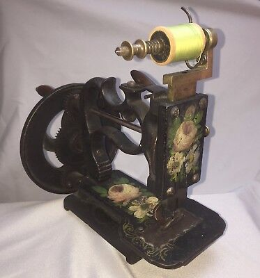 1860s Hand Crank Sewing Machine New England Cast Iron Hand Painted Civil War