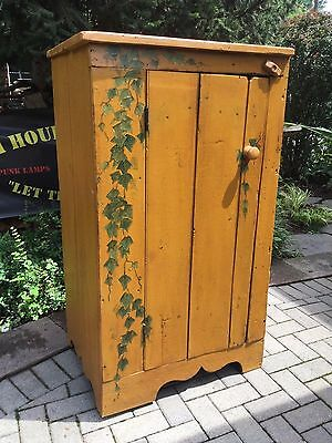 Antique1890's Hand Painted Distressed Rustic Cabinet or Pantry Jelly Cupboard