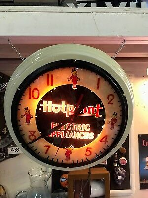 Vintage RARE HOTPOINT ELECTRIC APPLIANCES CLOCK-1940'S /1950'S ADVERTISING CLOCK