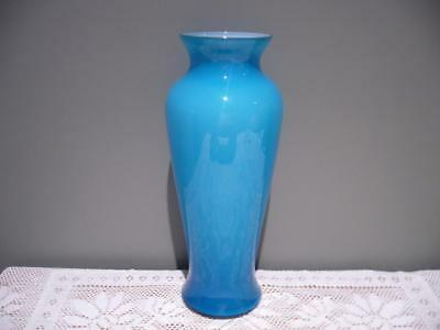 Stunning Large Aqua Blue Cased Glass Baluster Vase - Hand Made - Vgc