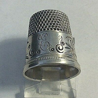 Antique Ketcham Mcdougal Sterling Silver  * C * Fans & Circles Thimble Sewing 9