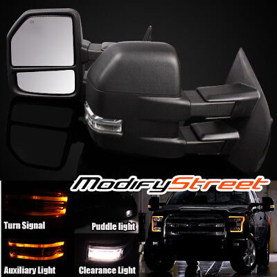 For 15-16 F150 Power/heated Led Signal/puddle/auxiliary Light Towing Mirrors