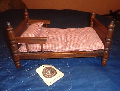 Boyds Bear Brown Wood Wooden Bed with Plaid Button Mattress & Pillow w/ Tag
