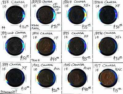 12 Canada Large Cents (1858-1917) Much Better Group > See Images > No Rsrv