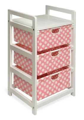 Badger Basket Hamper w Pink Polka Dots Drawers [ID 49820]