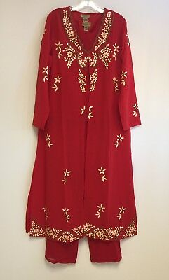 Midnight Velvet 3 - Pcs Embroidered & Hand - Beaded Red Pant Set NWT 1X - 2X -3X