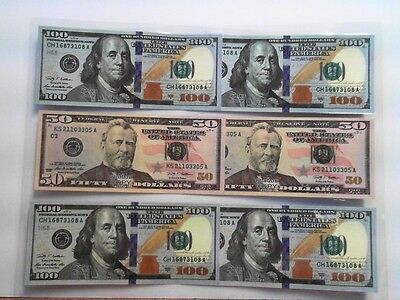 1 Sheet of Laminated 4 $100 and 2 $50 bills Novelty Prop Play Not legal tender