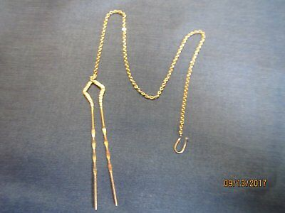Antique Victorian Ladies Hair Pin w/Chain for Eyeglasses Gold Filled