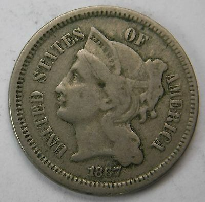 1867 Three Cent Nickel 3c VF  Nice Tone 362