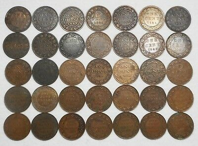 Lot Of 35 Lower Grade/Cull Canada Large Cents - (4) 1859, 1876 H, 1882 H, Etc.