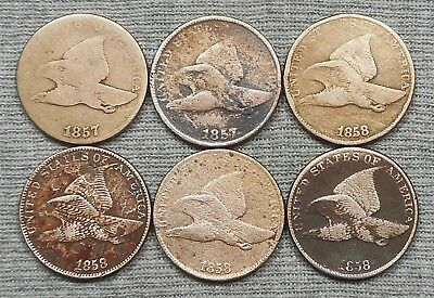 Lot Of 6 Lower Grade Flying Eagle Small Cents - (2) 1857 & (4) 1858
