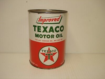 Texaco Vintage Improved Motor Oil Can SAE 30 Empty Nice Condition