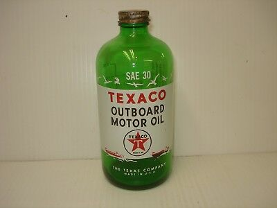 Texaco Vintage Outboard Motor Oil Green Bottle 1 Pint 2 Cycle Sae 30