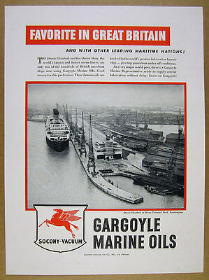 1949 Queen Elizabeth ship at Southampton UK dock photo Socony-Vacuum vintage Ad