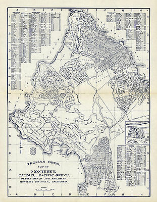 Early Midcentury Map Monterey Carmel Pacific Grove Pebble Beach Asilomar Poster