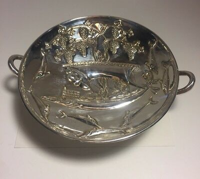 Lalaounis Vintage Sterling Silver Dolphins King On Ship Compote Dish