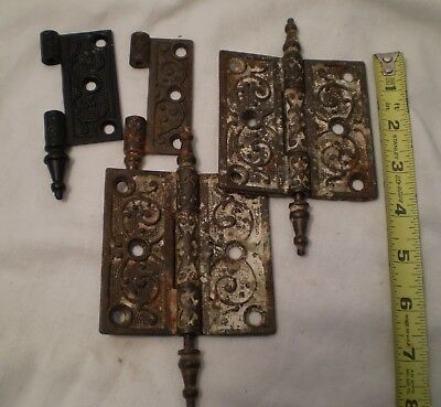 Antique Hinges pair and parts Ornate Eastlake Craftsman Victorian Art Nouveau