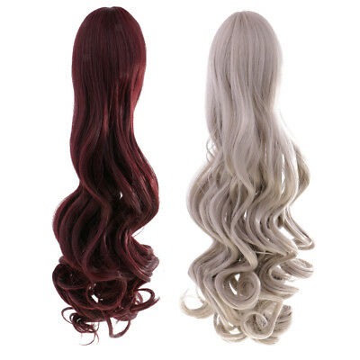 2 Pieces Stylish Wavy Curly Hair Wig for 18'' American Girl Doll DIY Repair