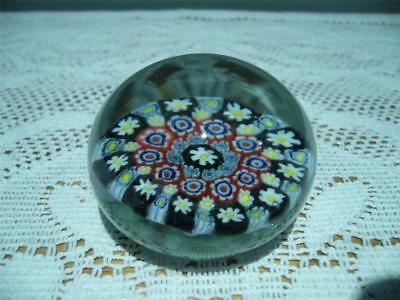 Hand Made Glass Small Paperweight - Millefiori - Red Yellow Blue Black - Vgc
