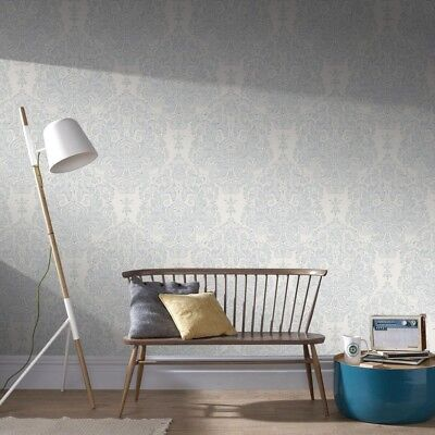 Graham and Brown 56 Sq Ft Gray Melody Wallpaper Roll Damask Home Wall Decor New