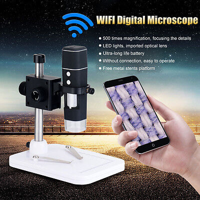 8 LED Portable WiFi 500X Digital USB Microscope Camera Magnifier 5MP Video