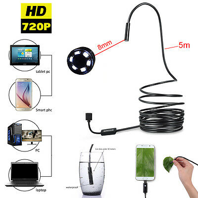 Waterproof 5M USB Endoscope Borescope Inspection HD Camera for Android Phone