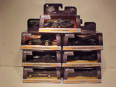 7 pack BATMAN 1966,1995,1989, 2009, 15,16, 17 Batmobile Diecast 1:32 Jada 5 inch