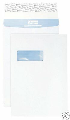 100 x Blake C4 White Window Tear Resistant 25mm Gusset Envelopes TR9901 E5B