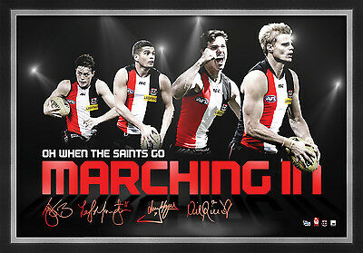 St Kilda Saints Signed AFL Player Print Framed Lenny Hayes Montagna Riewoldt