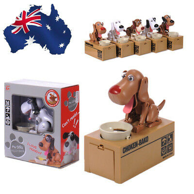 AU! Hungry Eating Dog Coin Bank Money Saving Boxes Piggy Bank Kids Toy Gift