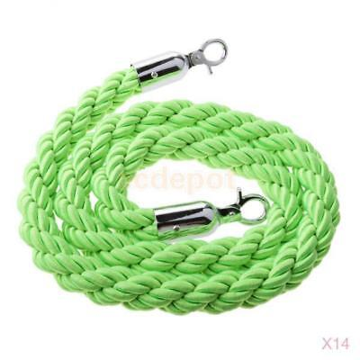 14x Green Queue Barrier Stand Posts Twisted Rope Divider Crowd Stanchion 1.5m