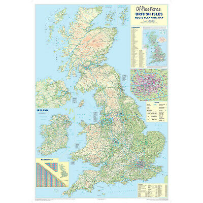 *brand New* Large Laminated Wall Road Map Poster Of Great Britain Gb Uk ¸ Map117