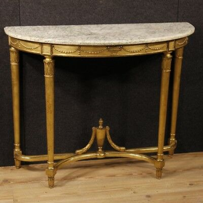 Console french gilded halfmoon shaped furniture table small wood antique style