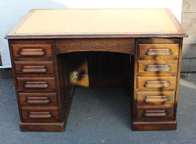 Large 1900's Oak Desk with good Oak Top and plenty of drawers.