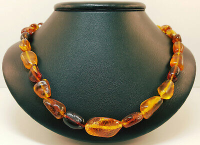 Necklace Baltic Amber Natural Stone Nr563 23,7g Cognac Vintage Old Clear Rare