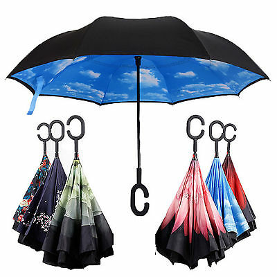 Inverted Umbrella C Handle Double Layer Folding Upside Down Reverse USA STOCK SF