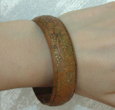 Antique 1920's Vintage Art Nouveau Ornate French Copper Bangle Bracelet Flowers