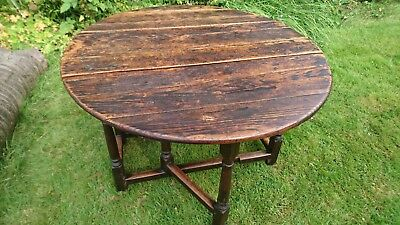 Antique Solid Oak Oval Table c.300 years old Gate-Legged Beautiful Patina Useful