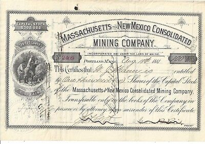 Massachusetts And New Mexico Consolidated Mining Company..1881 Stock Certificate