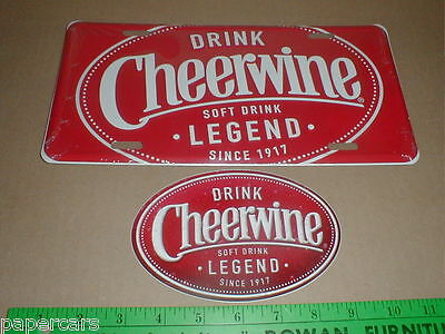 Cheerwine decal Soft Drink cola since 1917 New collector metal license plate tag